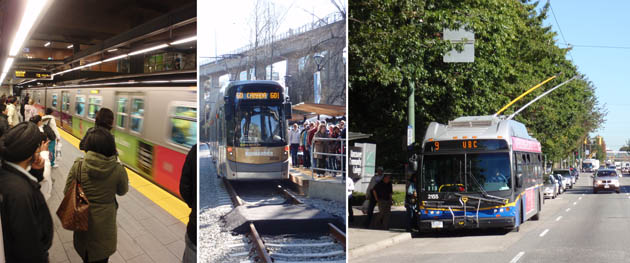 Transit options - Skytrain, Streetcar or Trolley bus